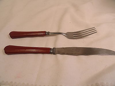 Vintage Brass And Wood Flatware Set In Box 79 Pieces