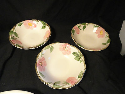 3 Desert Rose Franciscan Pottery Coupe Cereal Bowls