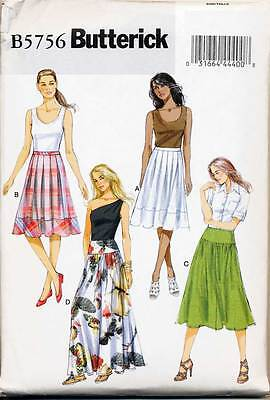 Butterick Sewing Pattern 5756 Misses 16-24 Pleated Skirts & Maxi In Plus Sizes