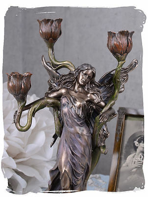 Floral Candelabrum Graceful Woman Sculpture Art Nouveau Candle Holder