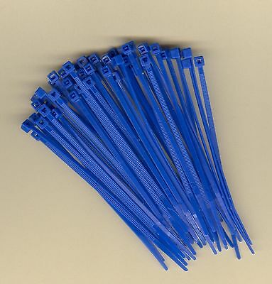 """100 4"""" Inch Long 18# Pound BLUE Nylon Cable Zip Ties Ty Wraps MADE IN USA"""
