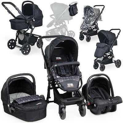 Zeta 3in1 Pram - Black Circles Travel System With Carrycot & Carseat