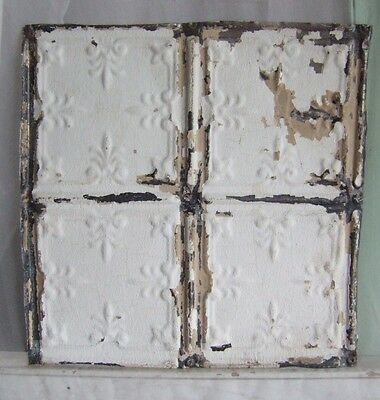 "1890's Reclaimed 12""  Antique Tin Ceiling Shabby White Reclaimed Metal C"