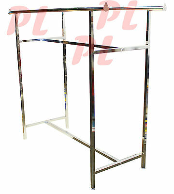 Double Parallel Bar Clothes Garment Retail Display Rack Adjustable Height 48-72""