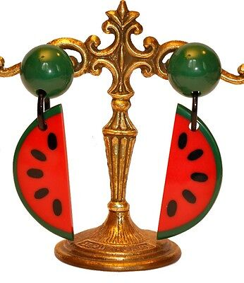 French Huge Dangling Clip On Watermelon Earrings -Green Red Black