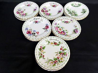 "FLOWER OF THE MONTH 16cm, 6.25"" SIDE / BREAD PLATES, ENGLAND, ROYAL ALBERT"