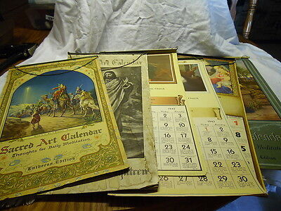Antique 1930's -1940's Calenders Religious Themed 6 Piece Lot Paper Scrapbook