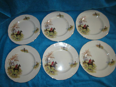 Vintage 1940's Alfred Meakin Country Life 8.75 Inch Plates Hunting Fishing Shoot