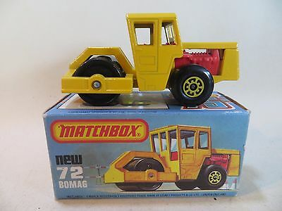 Matchbox 72 Bomag Road Roller. Vn Mib/boxed. Yellow. Vintage.