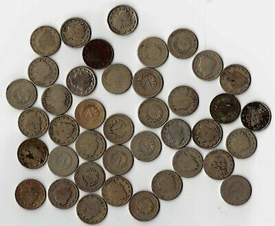 40 Mixed Circulated Liberty V Nickels Bargain Priced With Free Shipping