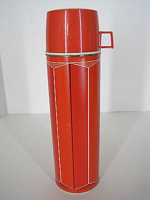 "Vintage Thermos King Seeley 1974 No. 2410 Quart Size Red Metal 13 1/2"" Retro"