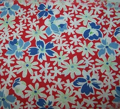 Pc Vintage Cotton Print Feed/four Sack/bag-Red/white/blue Floral-Fabric-Quilt