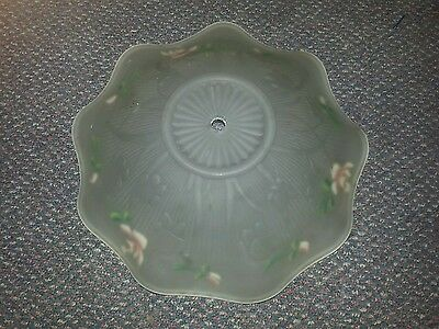 vintage Iris and Herringbone frosted ceiling light shade painted flowers