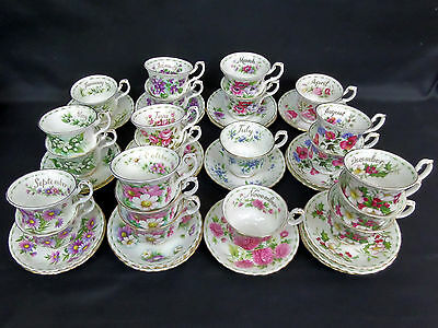 Flower Of The Month Tea Cups & Saucers, Good Condition, England, Royal Albert