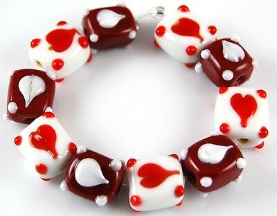 10pcs Lampwork Glass Beads Handmade Valentine's Heart Red White Loose Spacer