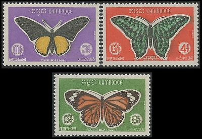 CAMBODGE N°225/227**  Papillons 1969, CAMBODIA Butterfly set MNH