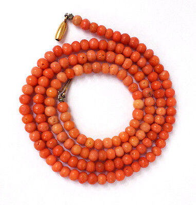 """Beautiful Antique 21"""" Natural Salmon Pink Coral Necklace 10k Gold Clasp 13.6g"""