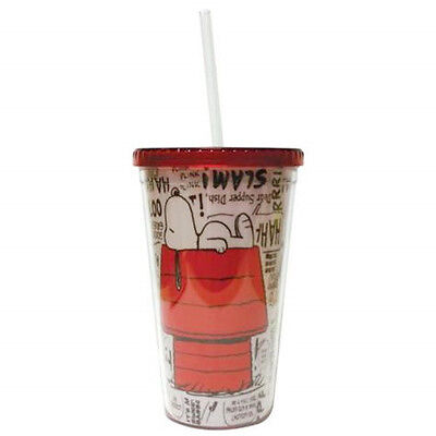 Peanuts Snoopy on Doghouse 16 Ounce Acrylic Tumbler with Straw NEW UNUSED