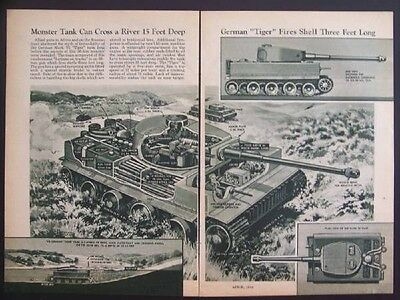 German Mark VI Tiger TANK WWII vintage 1944 cutaway view print