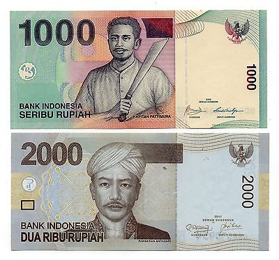 INDONESIA 1000 and 2000 Rupiah - A Set of 2 Crisp UNC Banknotes