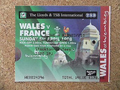1998 Five Nations Rugby ticket stub - Wales v France Wembley,