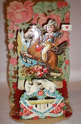 Vintage Valentine 3D Card Girl On Horse Cowboy Flower Dove Made in Germany