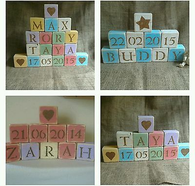 Shabby Chic /Rustic PERSONALISED Baby Name Wooden Blocks Nursery /Christening
