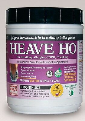 HEAVE HO Horse Allergy Heaves Breathing Relief Supplement APPLE Flavor 30 days