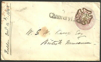1D Pink Envelope London Maltese Cross Chancery Lane 1842