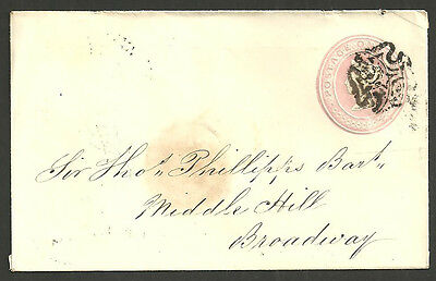 1D Pink Envelope Worcester Maltese Cross 1843
