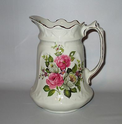 "James Kent Old Foley Harmony Rose 7 1/4"" Pitcher 32oz Pink White Flowers England"