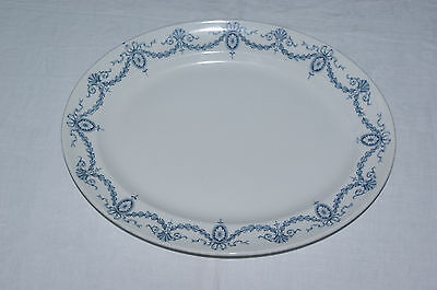"Oval Serving Platter 14.25"" Losol Clyde Blue Meat Dish Art Nouveau Antique"