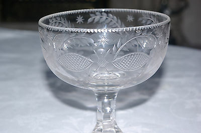 Antique Victorian Cut & Etched Crystal Glass Goblet Hand Blown Bonbon Dish 19 C