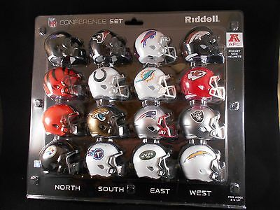 Official Nfl American Football Riddell Pocket Pro Revolution Afc Helmets X 16 Bn