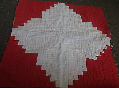 Antique / Vintage Hand Stitched Red & White  Log Cabin Quilt Cushion  Panel ~ E