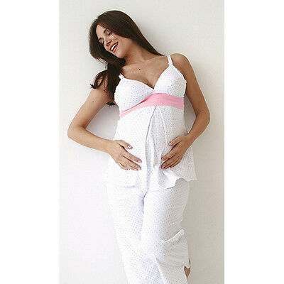 New BELABUMBUM Pink Dot Soft Cotton Knit Easy Nursing Sleep Camisole Top Small