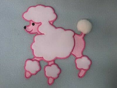 0442  ~ CRYSTAL AB POODLE DOG ~  BEADED APPLIQUE 3.5/""