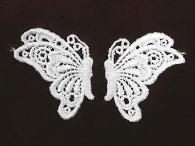 Pair White Butterfly Venise Lace Sew On Applique Patch