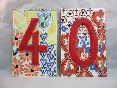2x Hand painted ceramic house number plaques. 4 & 0. 40. Anthropolgie
