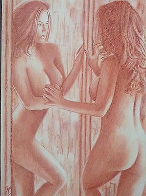 Nude Art - Original Female Mirror Erotic Pinup Sexy Woman Female Naked Pastel