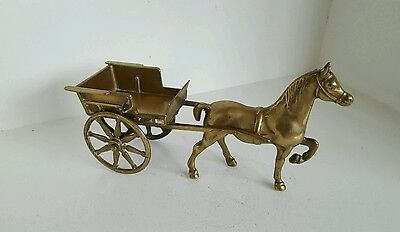 Vintage Brass Horse And Cart Carriage, Collectible, Great Condition