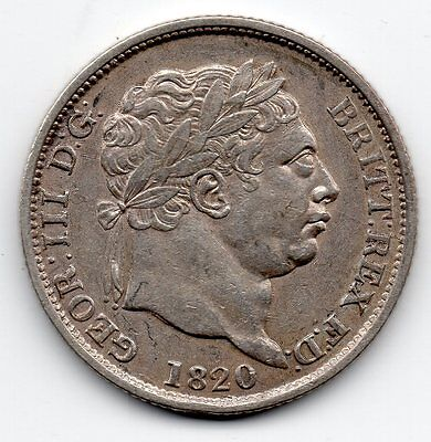 1820 GEORGE III Sterling Silver SHILLING Coin High Collectable Grade