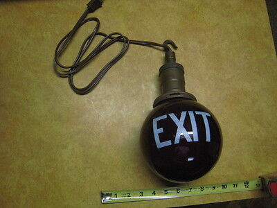 "Vintage Antique Theatre Red Exit 6"" Globe Light Lamp Brass Fixture Works NICE SE"