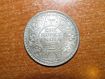 British India 1920 silver Rupee coin Extremely Fine nice