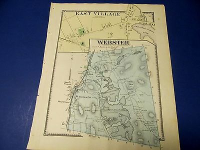 Antique 1870 map of Webster Ma., by Beers.