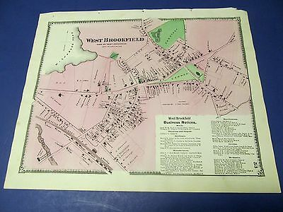 Antique 1870 map of West Brookfield Ma.,town center by Beers.