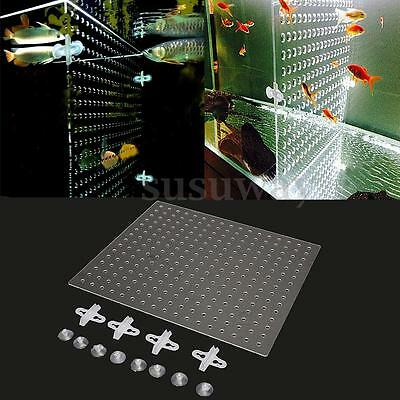Tank Aquarium 3mm Acrylic Divider With Holes + 4 Suction Clips Breathing 43x38cm