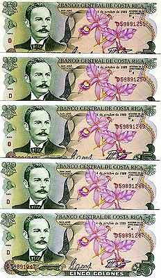 LOT Costa Rica, 5 x 5 Colones, 1989, P-236d, UNC -> colorful