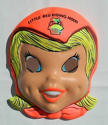 Vintage Halloween Little Red Riding Hood Costume Plastic Mexican Mask Ben Cooper