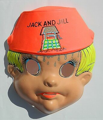 Vintage Halloween Jack And Jill Costume Plastic Mexican Mask Ben Cooper